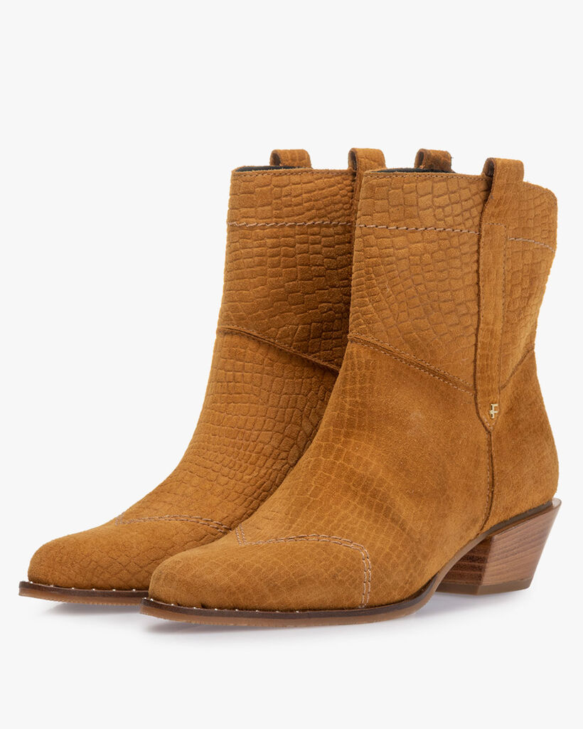 Boot printed suede leather cognac