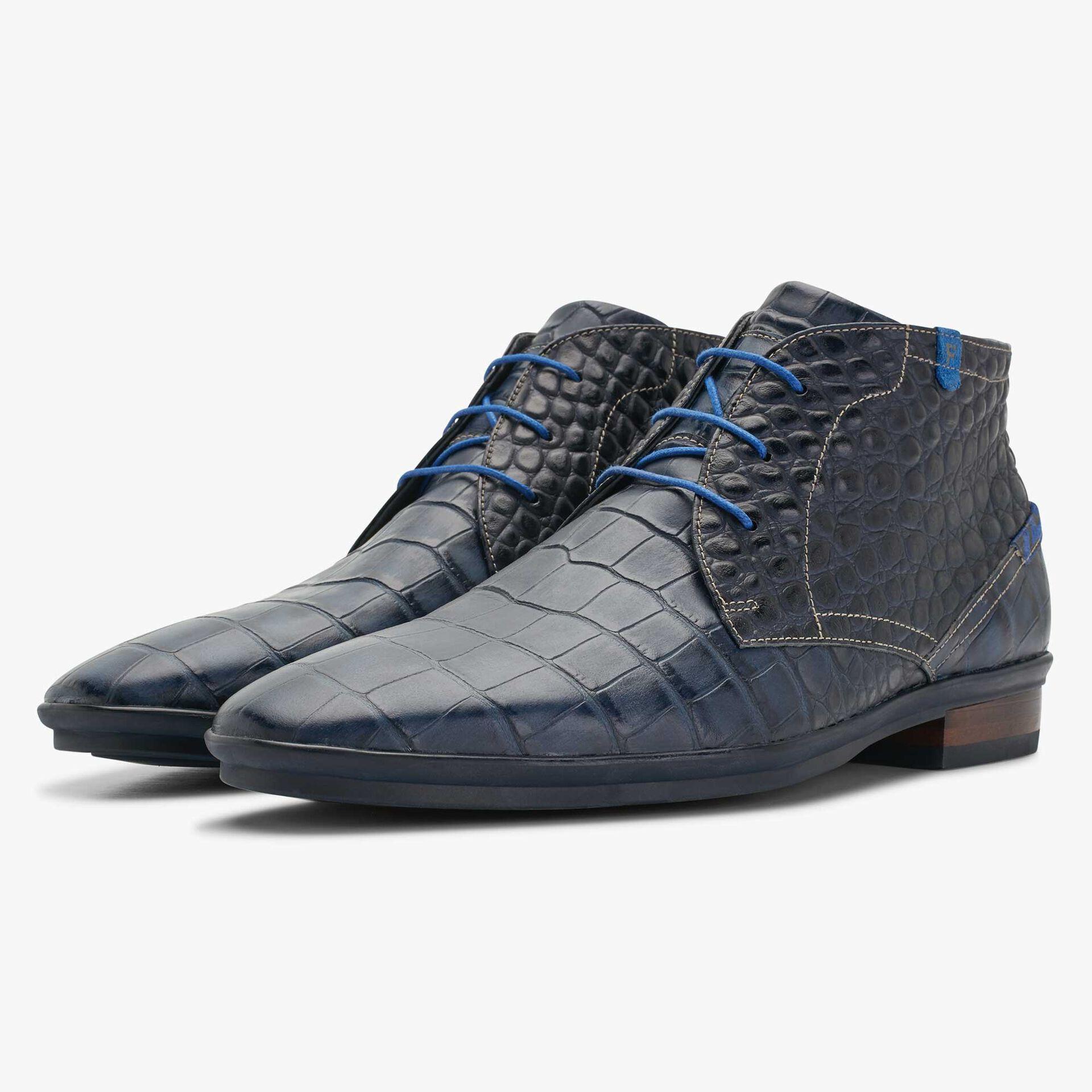 Floris van Bommel dark blue men's lace shoe with crocodile print