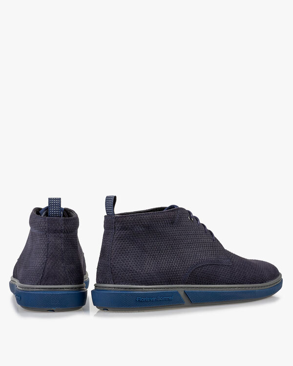 Lace boot printed leather blue