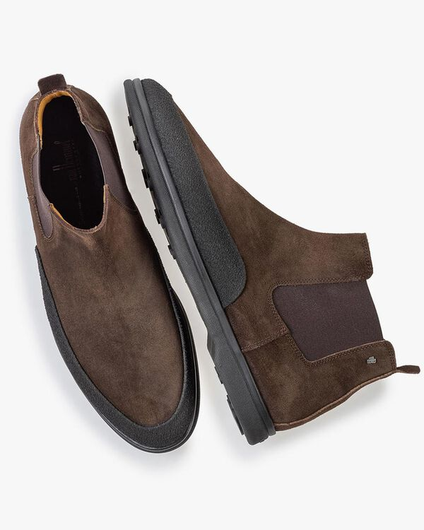 Suede leather Chelsea boot dark brown