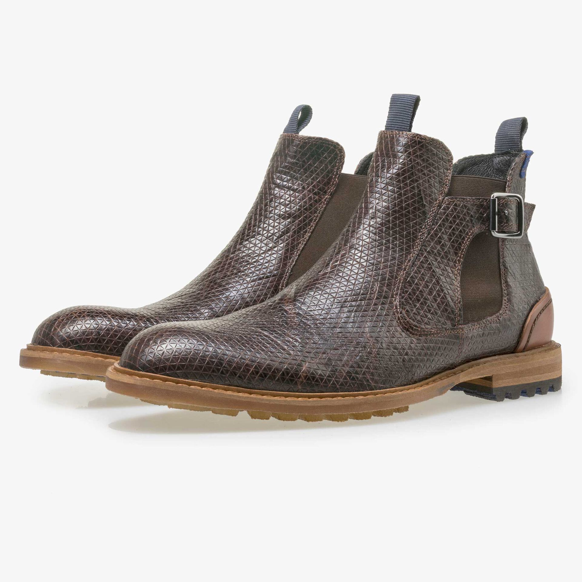 Floris van Bommel men's brown leather Chelsea boot finished with a snake print