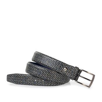 Belt printed leather black/white