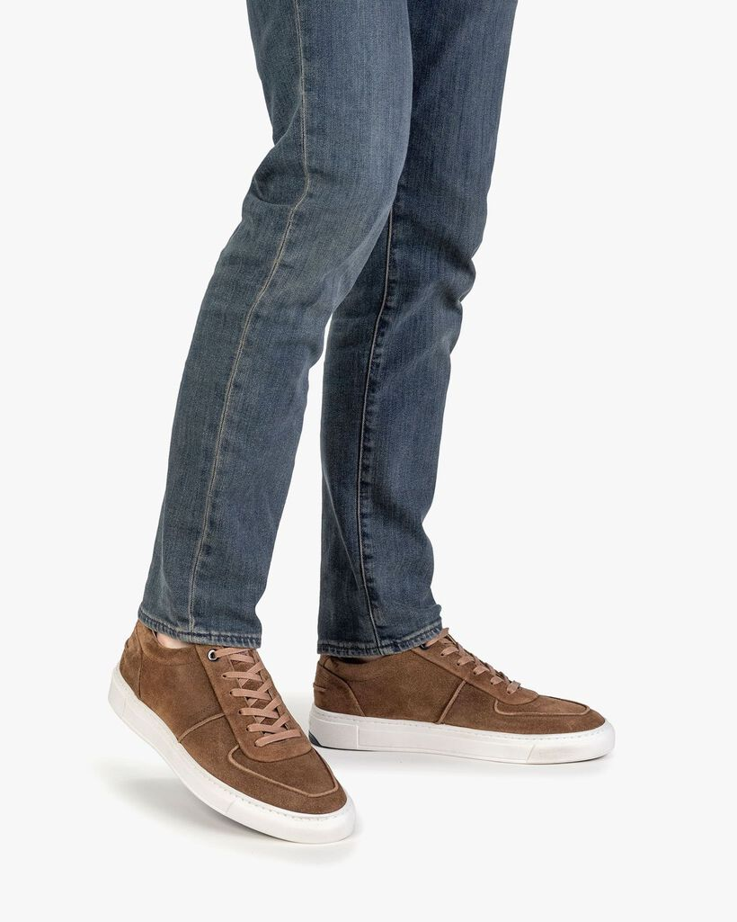 Sneaker cognac-coloured suede leather