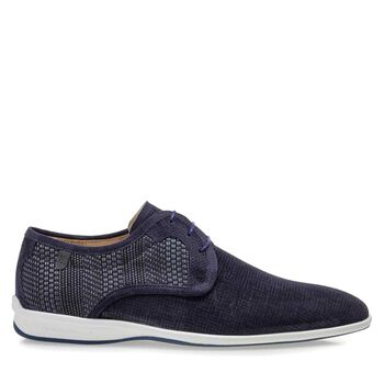 Lace shoe suede leather blue