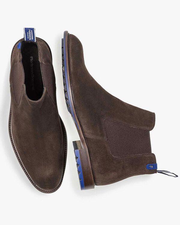 Dark brown calf suede Chelsea boot