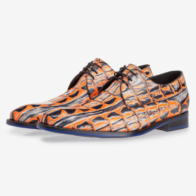 Veterschoen crocoprint oranje
