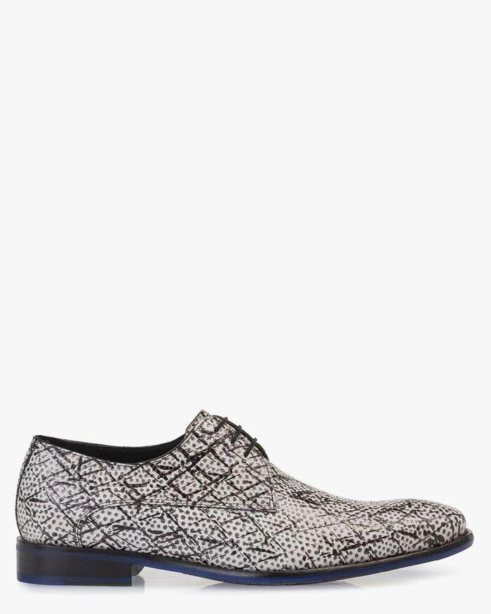 Lace shoe black/white leather