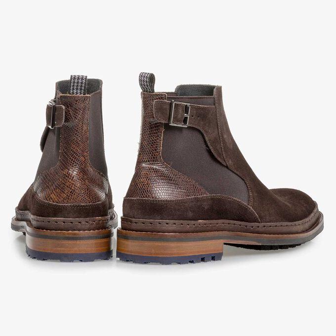 Donkerbruine suède chelsea boot