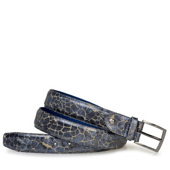 Belt blue metallic print