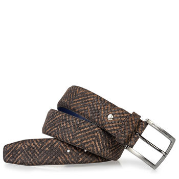 Suede leather belt brown with black print