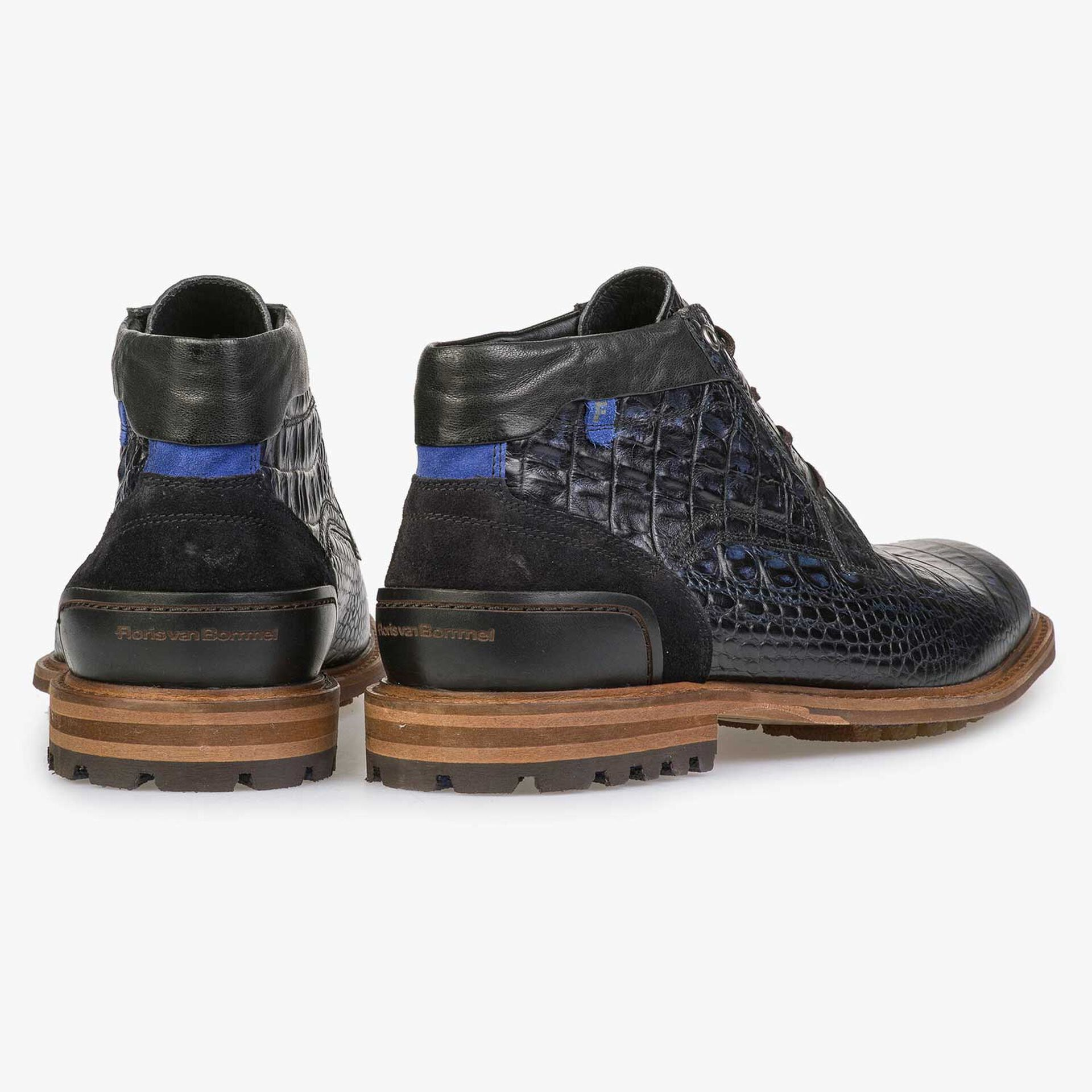 Blue leather lace boot with croco print