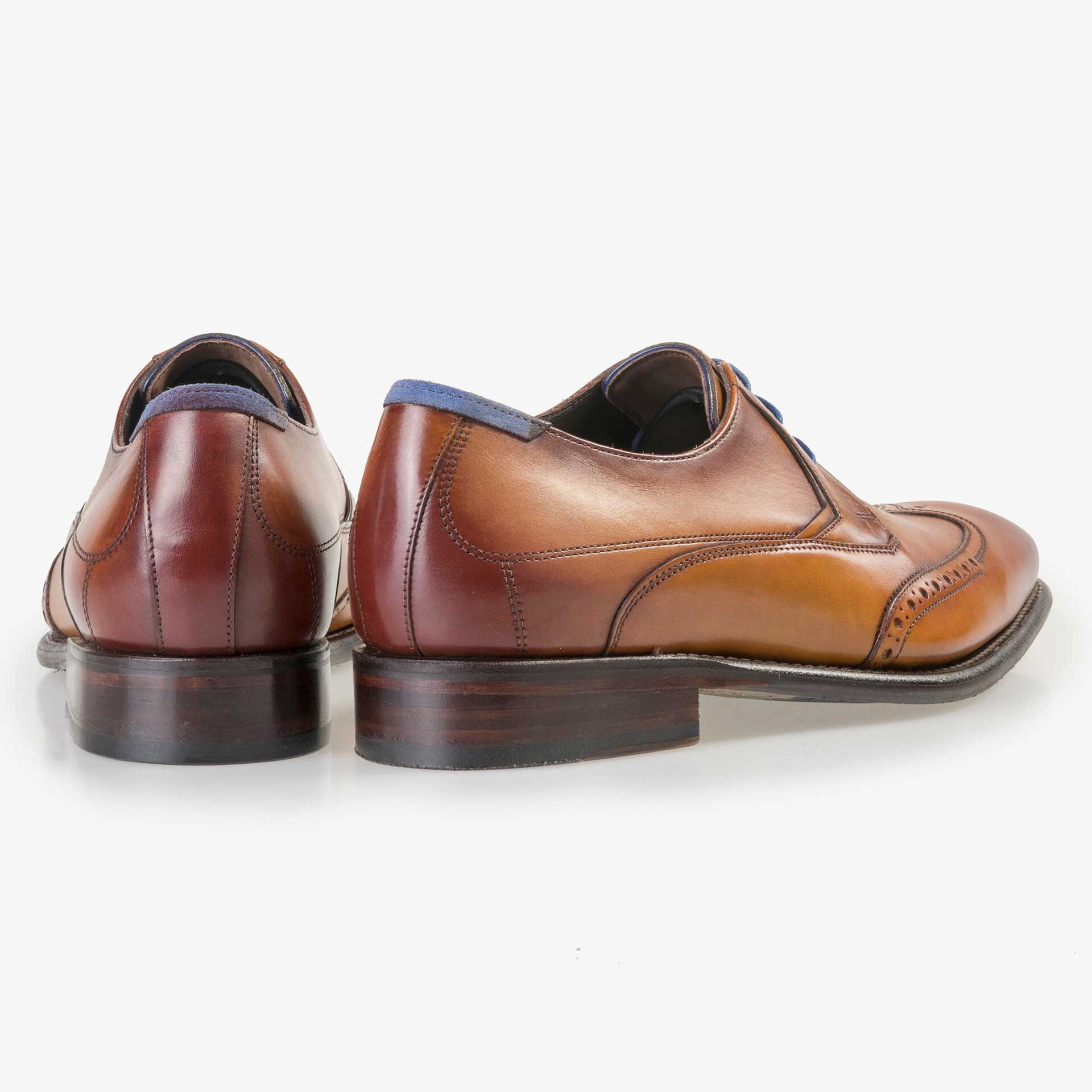 Floris van Bommel men's light cognac-coloured leather lace shoe