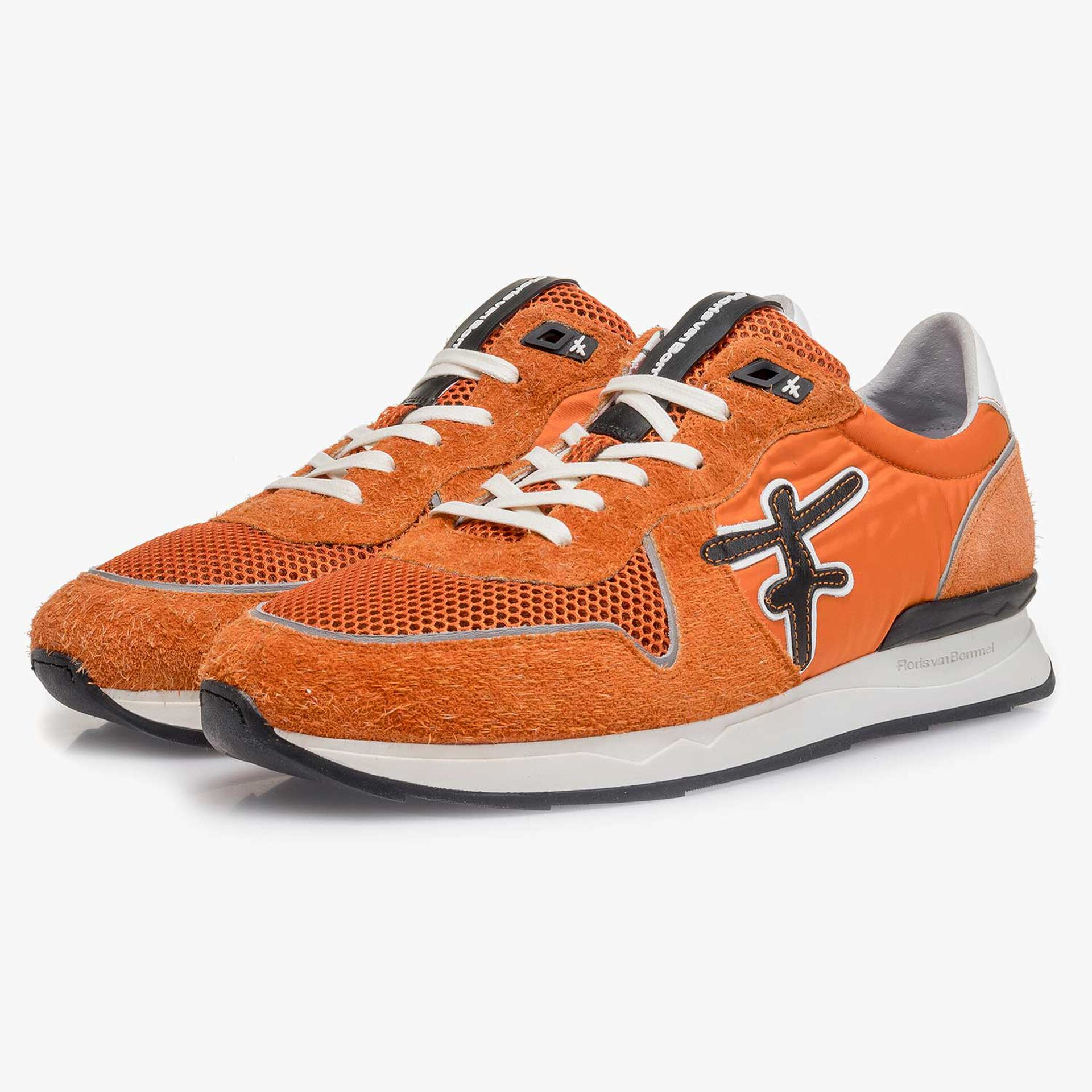 Suède sneaker oranje/zwart