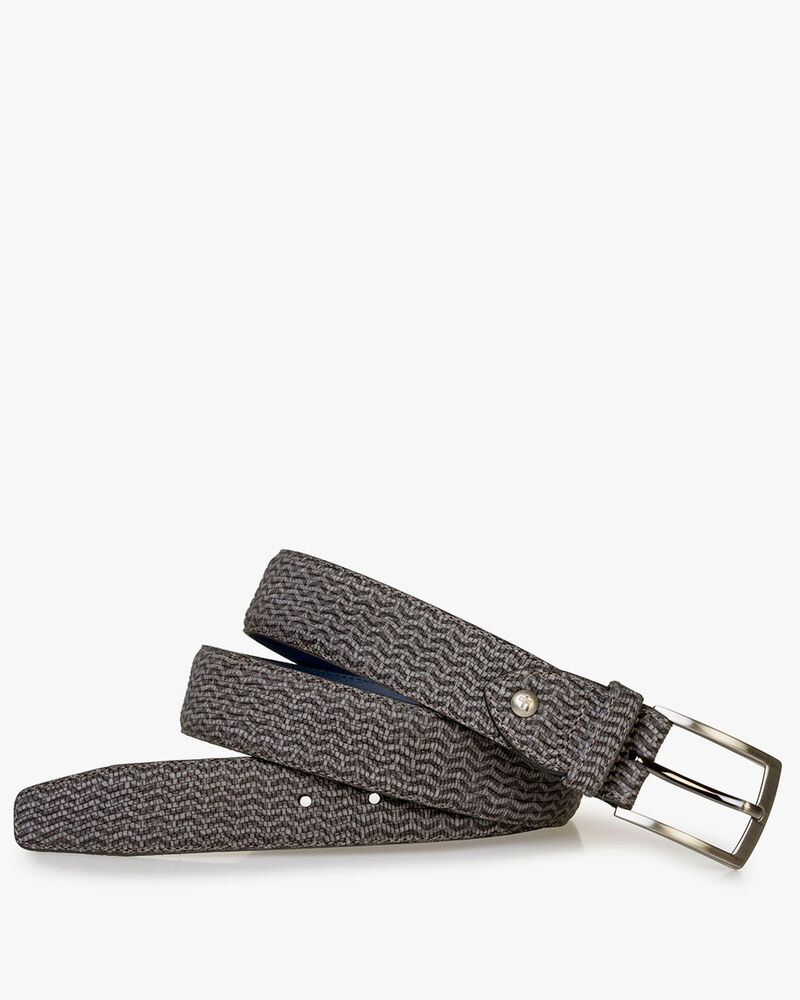 Belt nubuck leather grey