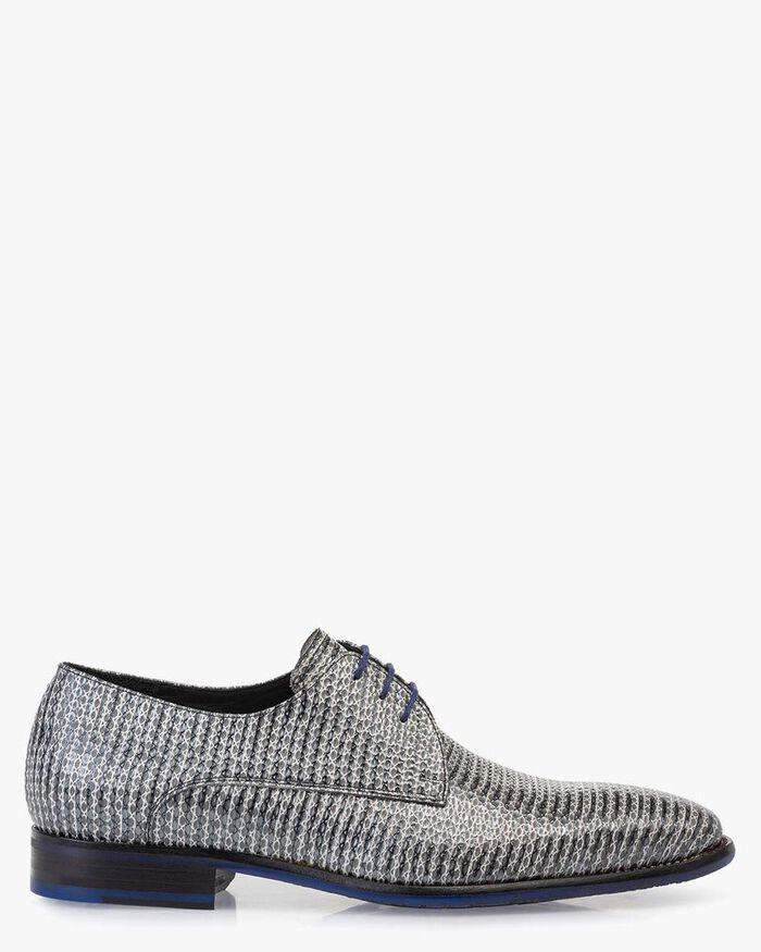 Lace shoe metallic with print grey