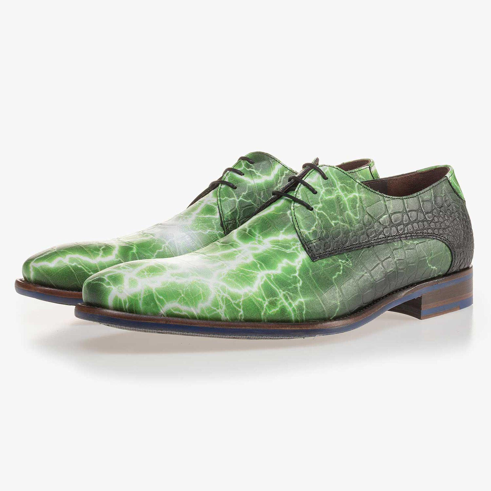 Premium green printed leather lace shoe