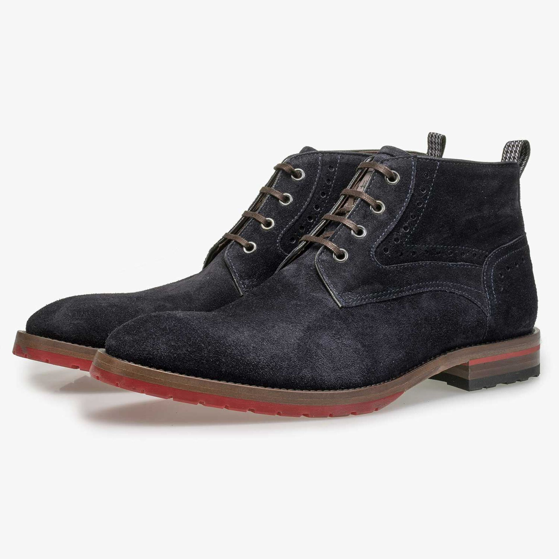 Blue suede leather lace boot with brogue details