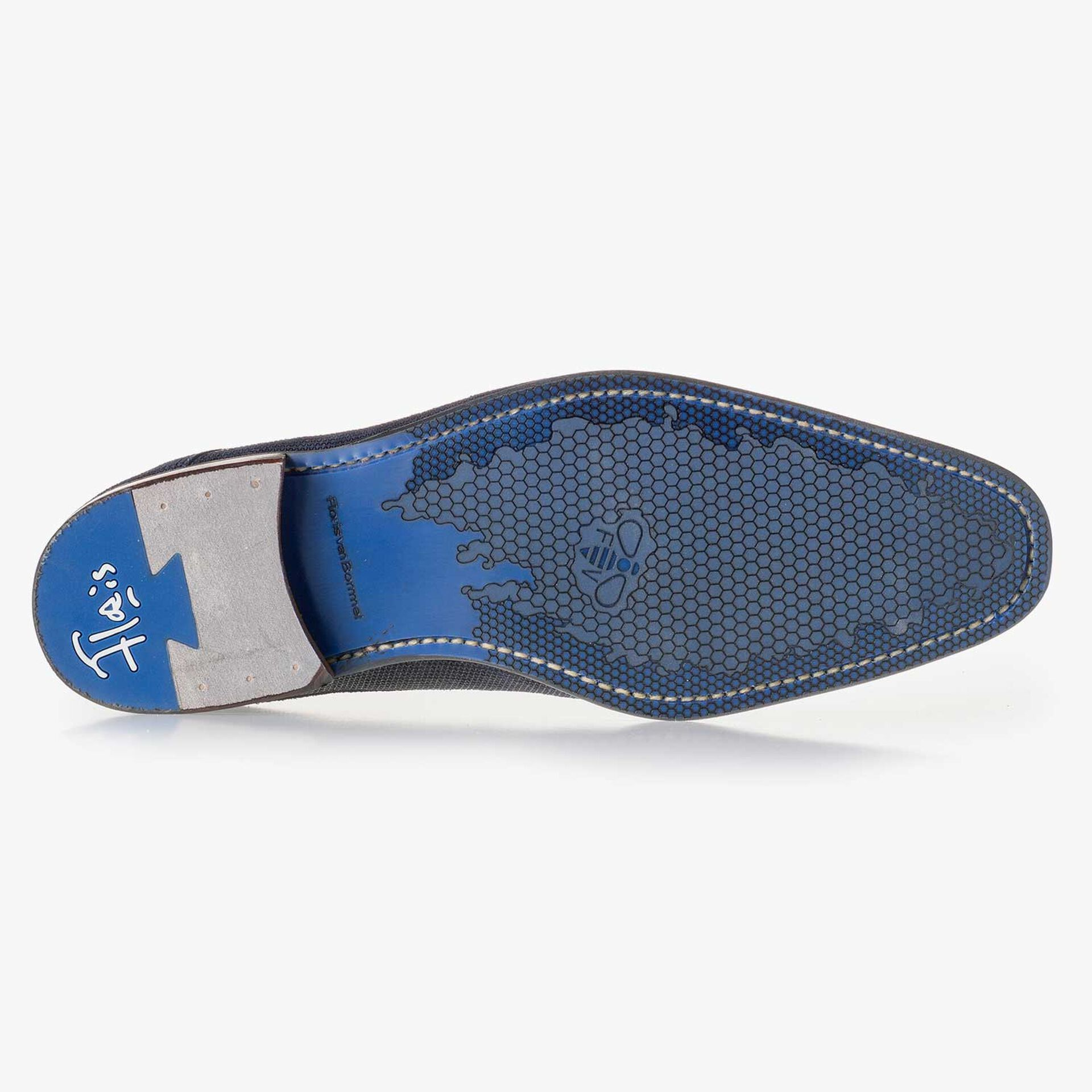 Blue, patterned suede leather lace shoe