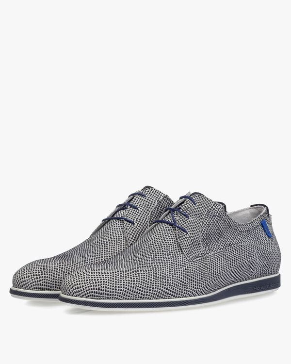 Lace shoe off-white suede leather