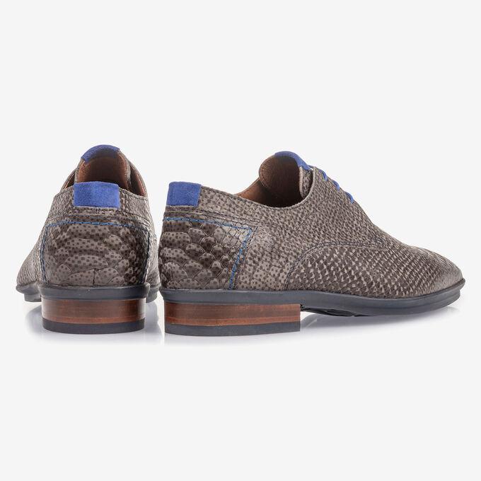 Dark grey nubuck leather lace shoe with snake print
