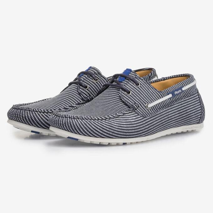 Blauwe suède bootschoen met print