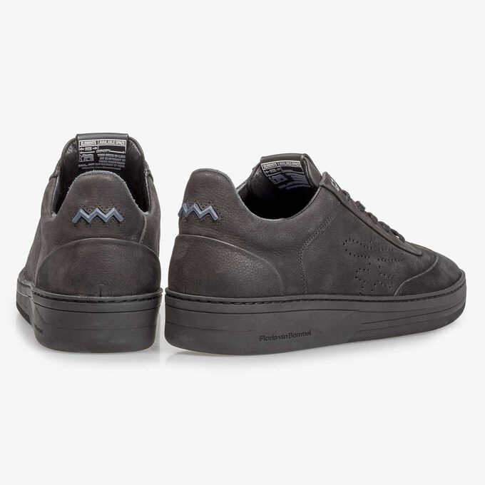 Black printed nubuck leather sneaker