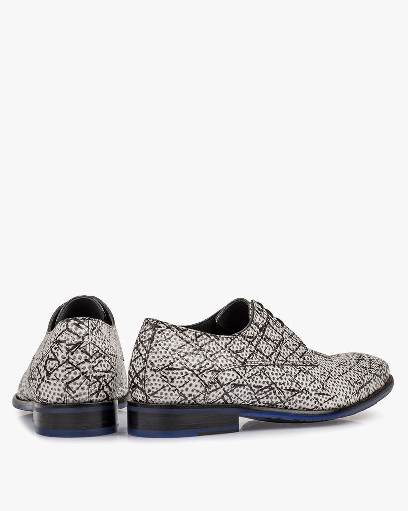 Lace shoe black/white printed leather