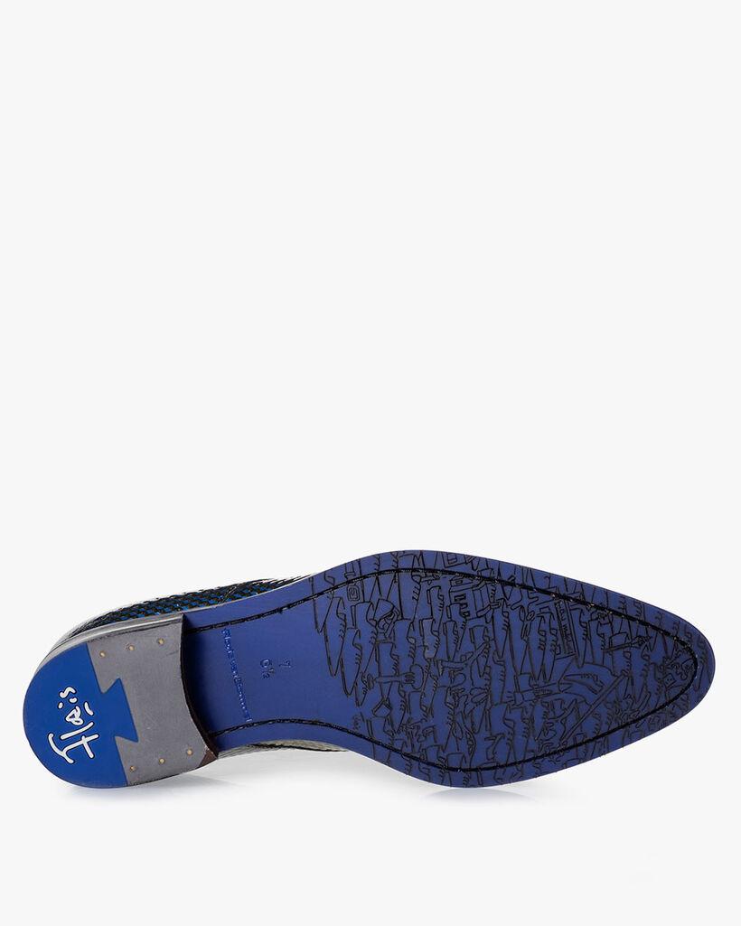 Veterschoen lakleer blauw