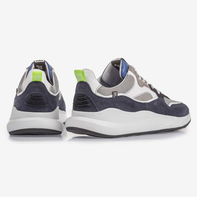 Suède sneaker met blauw en grijs