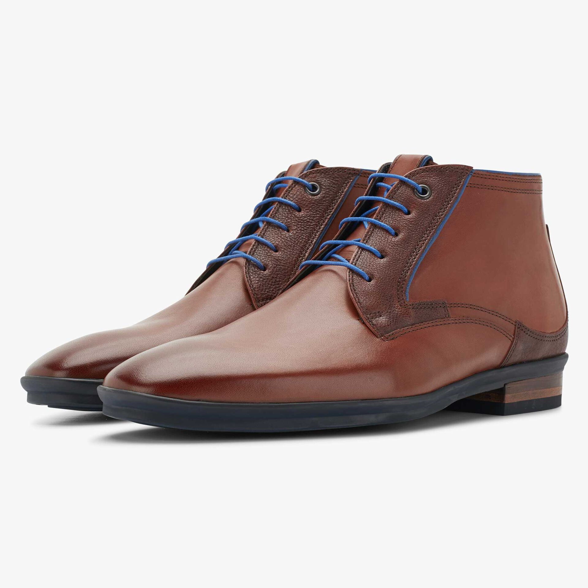 Floris van Bommel cognac leather men's lace-up boot