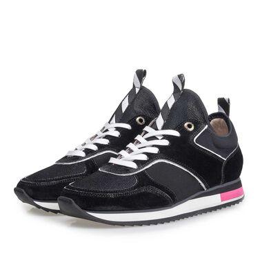 Leren sneaker met runnerzool