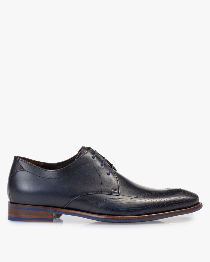 Lace shoe calf leather blue
