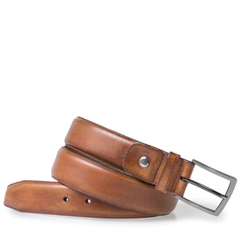 Dark cognac-coloured calf leather belt
