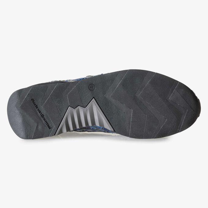 Blauwe lakleren sneaker met snakeprint