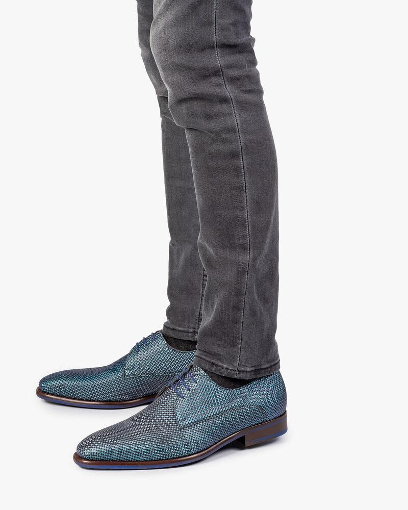 Lace shoe blue metallic print