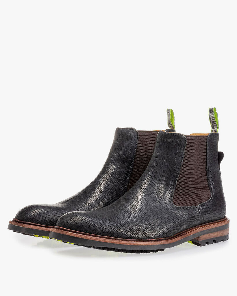 Chelsea boot black with print