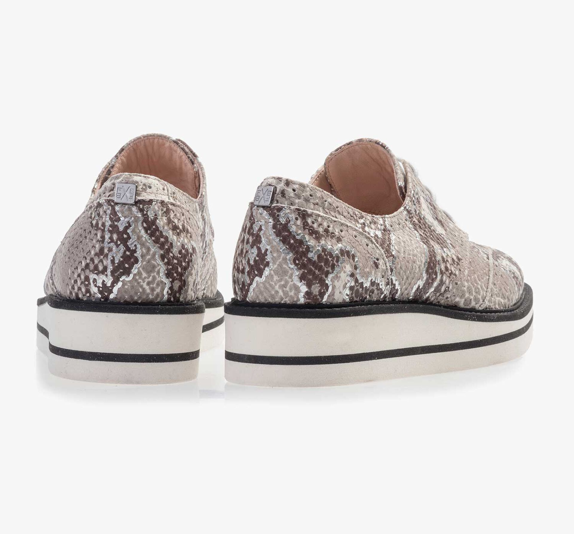 Taupe-coloured brogue leather lace shoe with snake print