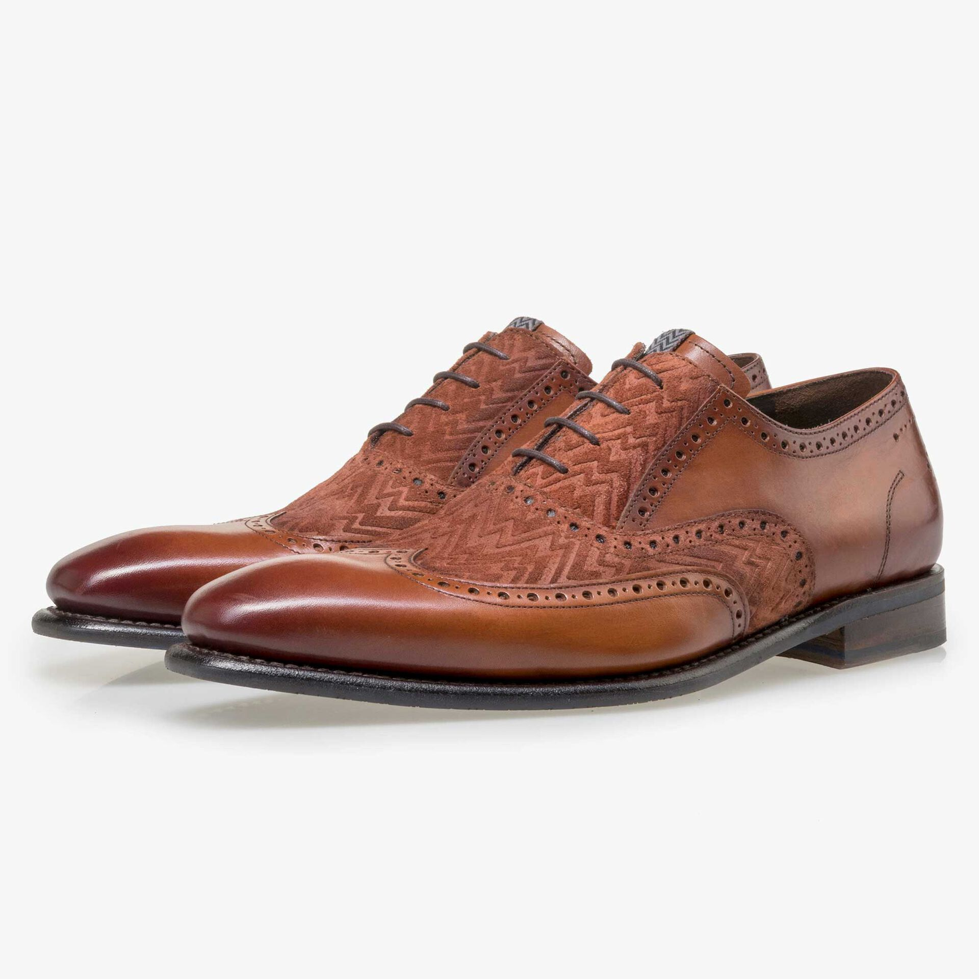 Floris van Bommel men's cognac-coloured leather lace shoe