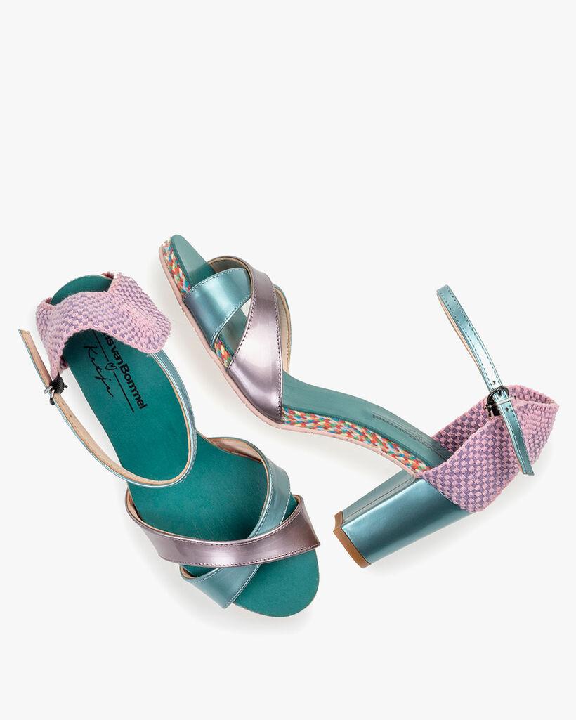 Sandal patent leather light blue
