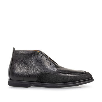 Lace boot printed leather black