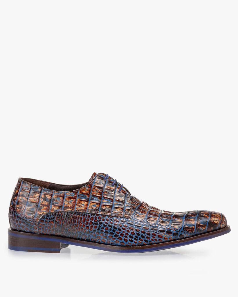 Lace shoe croco print cognac