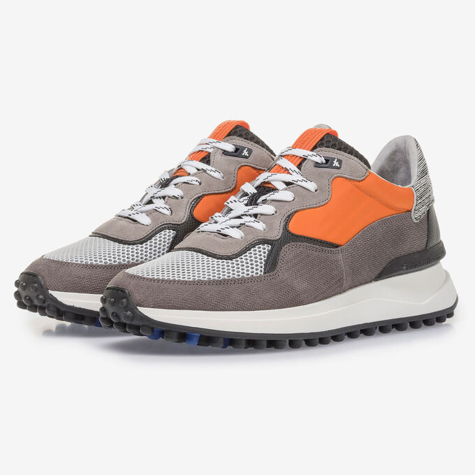 Grey suede leather sneaker with orange details