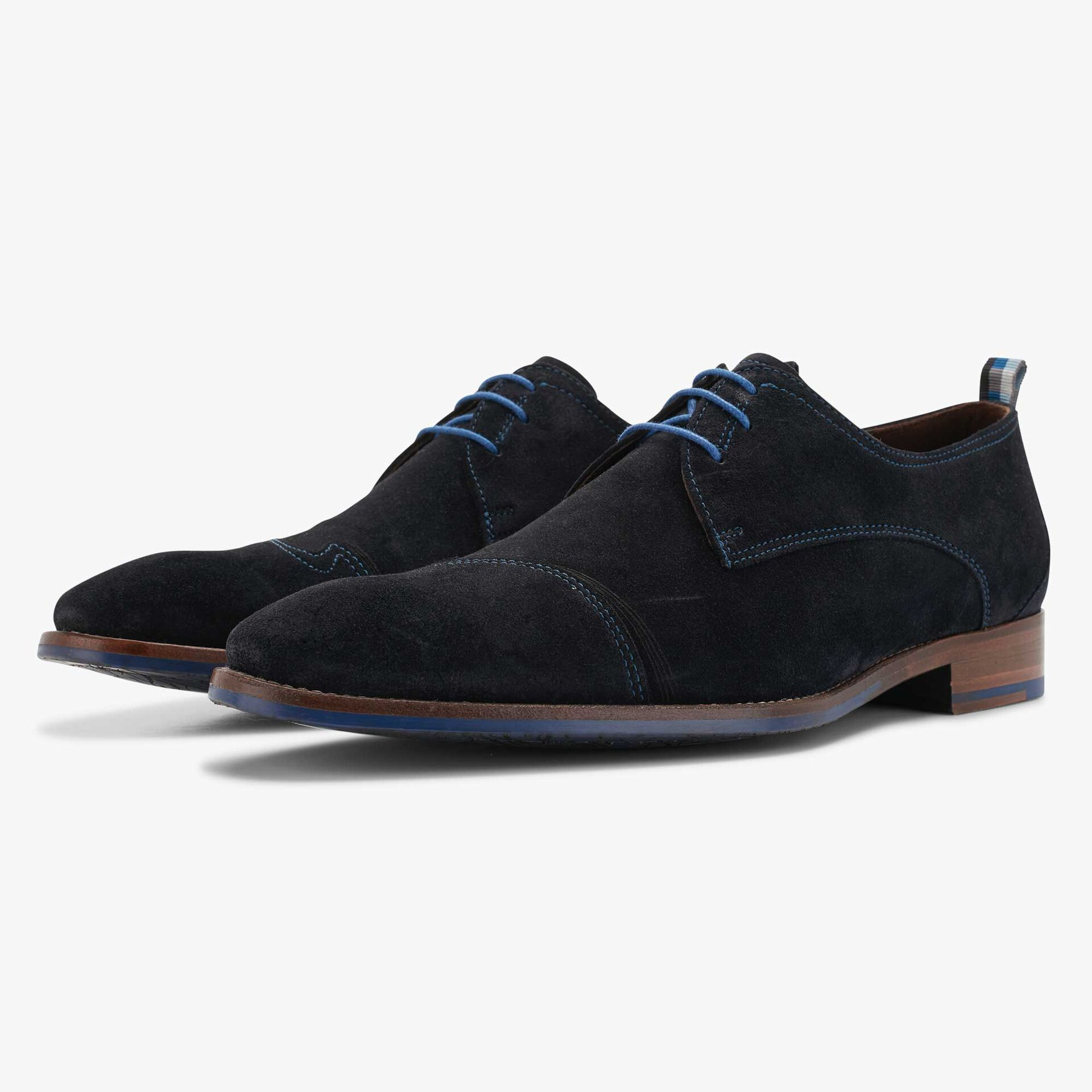 Floris van Bommel blue men's suede lace shoe