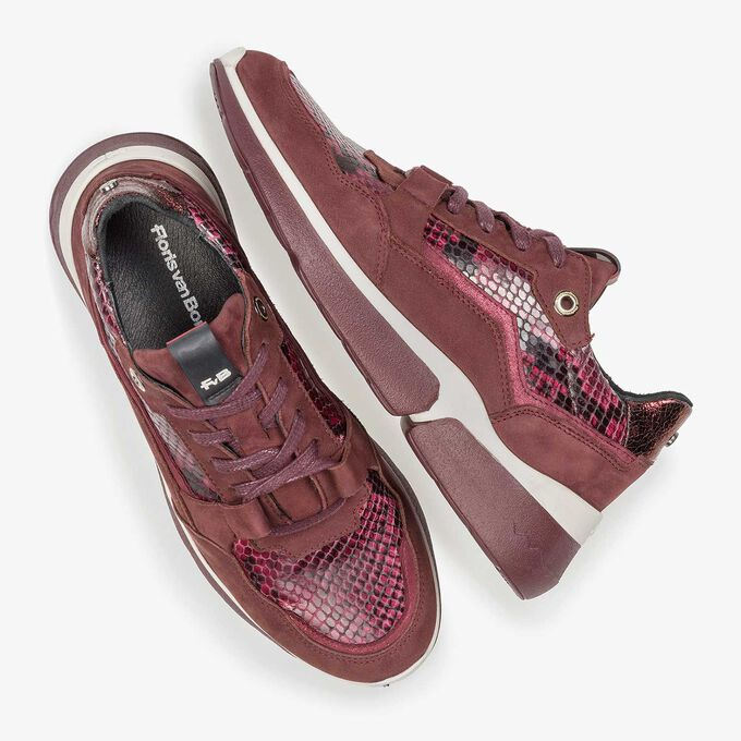 Burgundy red suede leather sneaker with snake print