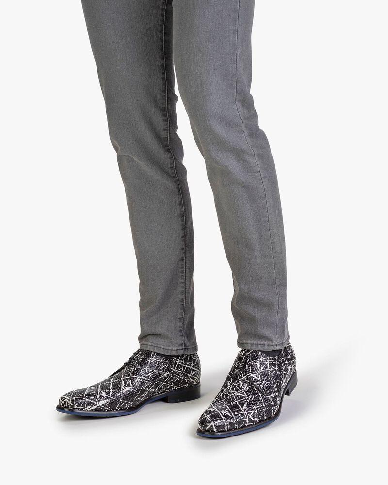 Lace shoe leather black/white