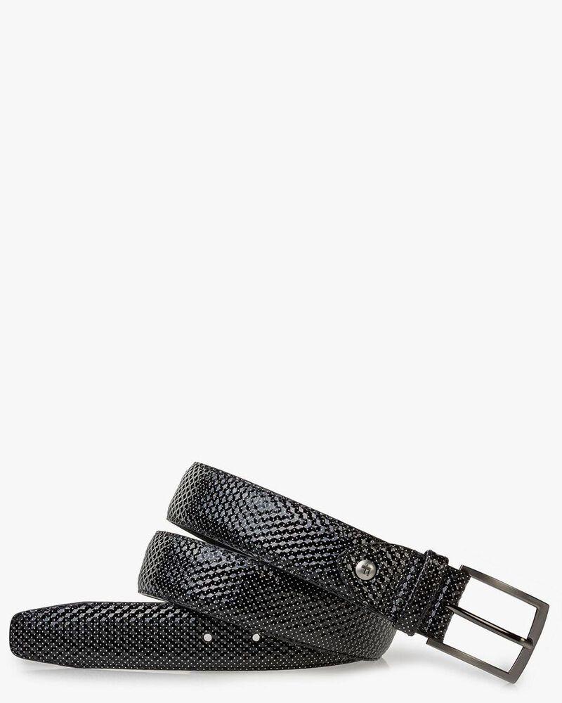 Belt printed leather grey
