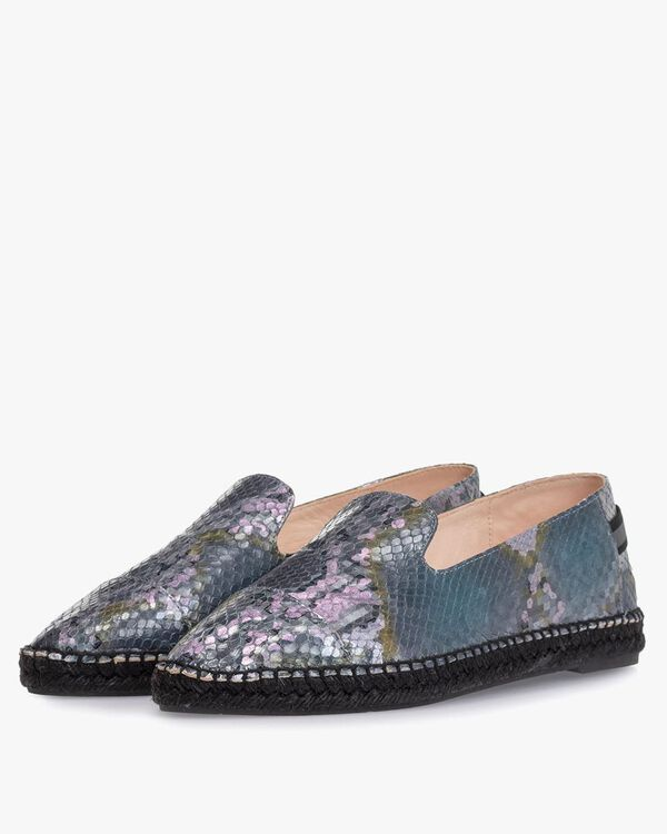 Espadrille printed leather blue