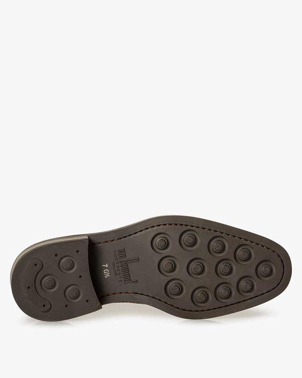 Lace shoe printed leather cognac-coloured