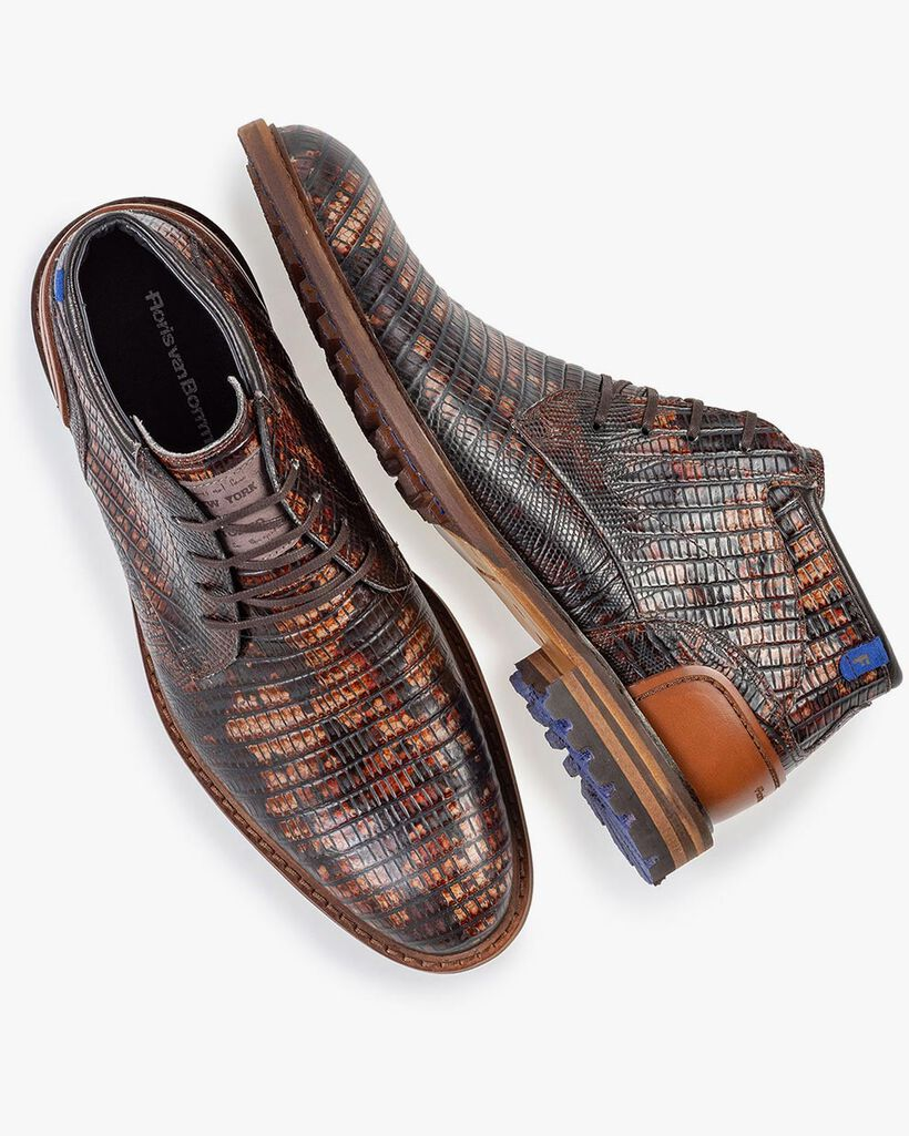 Crepi boot lizardprint cognac