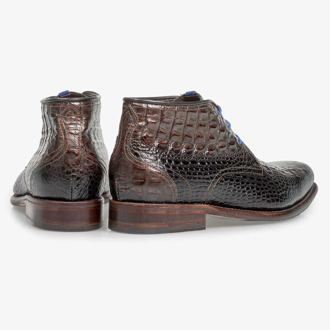 Bronze-coloured leather lace boot with croco print